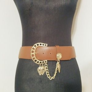 2/$15 Brown Belt Chain Gold Buckle Made in USA